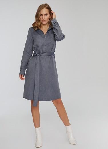 People By Fabrika Beli Bağlamalı Gömlek Elbise Lacivert